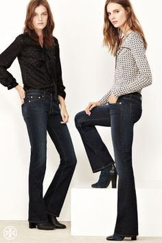 Tory Burch Bootcut Jean: Fitted and flared — it complements curves #denim
