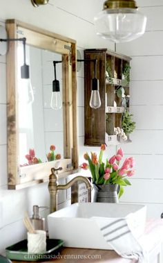 Vintage Home Vintage Inspired Farmhouse Bathroom Makeover - Christinas Adventures - This vintage inspired farmhouse bathroom is filled with wood tones, mixed metals, shiplap, vintage treasures, and lots of DIY projects. Farmhouse Furniture, Furniture Decor, Farmhouse Decor, Farmhouse Style, Vintage Farmhouse, Farmhouse Lighting, Rustic Style, Vintage Furniture, Green Furniture