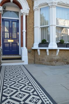 Share Tweet Pin Mail Front garden Victorian black and white mosaic London Balham Clapham Kingston Bromley Croydon Richmond Kew Chiswick anewgarden