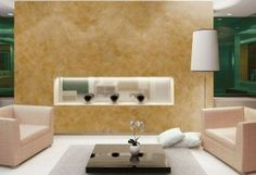 Creative interior design ideas living room wall design color ocher yellow LED strip rococo VALPAINT