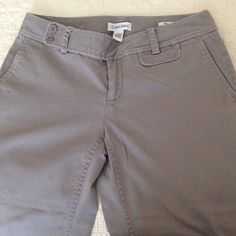 Calvin Klein Riley Pants Grey cotton pants in bootcut, gently used. Calvin Klein Pants