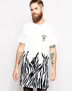 Abandon Ship Super Longline T-Shirt with Zebra Print