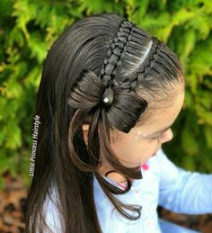 Pin by Rosana Robledo on Peinados in 2020 Lil Girl Hairstyles, Baddie Hairstyles, Braided Hairstyles, Girl Hair Dos, Baby Girl Hair, Jasmine Hair, Middle Hair, Love Hair, Hair Hacks