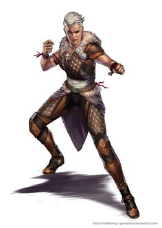 Pathfinder-Sevroth Slaid by YamaOrce female fighter boxer warrior hand to hand combat ranger armor clothes clothing fashion player character npc | Create your own roleplaying game material w/ RPG Bard: www.rpgbard.com | Writing inspiration for Dungeons and Dragons DND D&D Pathfinder PFRPG Warhammer 40k Star Wars Shadowrun Call of Cthulhu Lord of the Rings LoTR + d20 fantasy science fiction scifi horror design | Not Trusty Sword art: click artwork for source