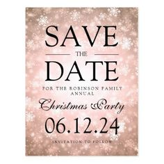 Christmas Party Save The Date Winter Copper Postcard - merry christmas postcards postal family xmas card holidays diy personalize