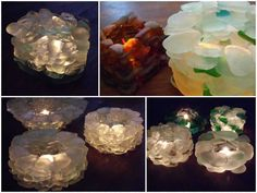 These candle holders are made with found sea glass and are fixed with transparent silicon. #Candle, #Diy, #Holder, #Lights, #SeaGlass #LampsLights, #RecycledGlass Diy Candle Holders, Diy Candles, Recycled Crafts, Recycled Glass, Recycler Diy, Glass Bottle Crafts, T Lights, Diy Recycle, Beach Crafts