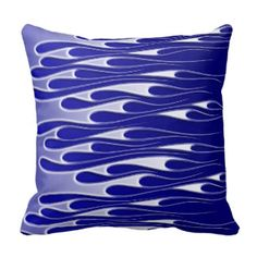 Faux Metallic Blue Ice Flames on Blue Pillow
