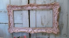 Large picture frame shabby chic vintage pink gold romantic wall home decor Anita Spero