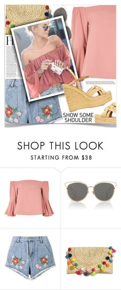 """""""Off-Shoulder Tops"""" by shoaleh-nia ❤ liked on Polyvore featuring Topshop, Christian Dior, House of Holland and Yves Saint Laurent"""