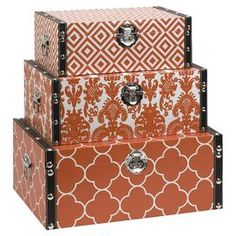 """Stylishly stow photographs, trinkets, and accessories with this 3-piece set. Finished in orange, these chic boxes showcase trunk silhouettes and on-trend patterns.   Product: Small, medium and large storage boxConstruction Material: MDF and canvasColor: OrangeDimensions: Small: 5"""" H x 13.75"""" W x 8.25"""" DMedium: 6.25"""" H x 15.75"""" W x 10.25"""" DLarge: 7.25"""" H x 17.75"""" W x 12.25"""" D"""