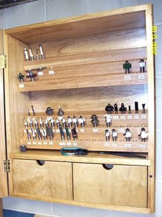 Router Bit Cabinet- Print our router bit speed chart and put in here, also maybe drill bits and speed chart