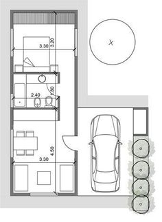 Tiny House Cabin, Tiny House Living, Tiny House Design, Small House Plans, House Floor Plans, Tiny Studio Apartments, Apartment Floor Plans, Tiny Spaces, Cabin Plans
