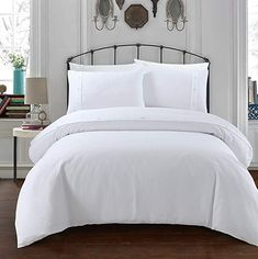 Sleepdown Simple and Classy Waffle Design White Duvet Cover and Pillow Cases Bedding Set with Buttons Closure (Double): Amazon.co.uk: Kitchen & Home