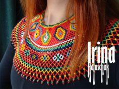 necklace, ukraine, beads, beadwork, irina haluschak, lemko, kryza, бисерб бисероплетение, лемківська криза, лемки, прикраси в народному стилі