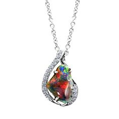 Fiery Black Opal Necklace