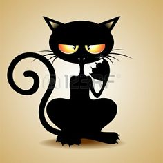 Grumpy Black Cat Cartoon