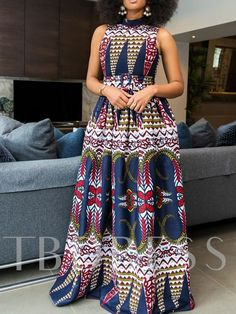 Sleeveless Floor-Length Color Block Print Womens Maxi Dress - - Source by African Maxi Dresses, Latest African Fashion Dresses, African Print Fashion, African Attire, African Wear, Ankara Maxi Dress, Ankara Gowns, Skater Dress, Moda Afro