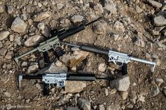 OIP Ounces Is Pounds Ultralight Rifle Family Progression.  3.8 lb Production Rifle (top Left), 4 lb Prototype (right), and Proof of Concept Rifle (Bottom)
