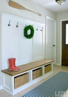 DIY Entryway Wardrobe with Storage.... http://www.completely-coastal.com/2016/10/simple-entryway-storage-ideas-with-benches.html