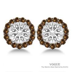 Glamorous Round Center Diamond Stud Earrings with Coco Diamond Halos set in 14k White Gold.