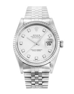 This is a pre-owned Rolex Datejust 16234. It has a 36mm Steel Case & White Gold Bezel, a Silver Custom Diamond dial, a Steel (Jubilee) bracelet, and is powered by an Automatic movement.