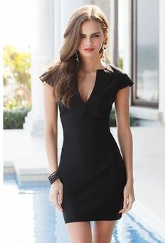 BLACK V-NECK BODYCON DRESS. Love this! Sexy cut but also Classy :)