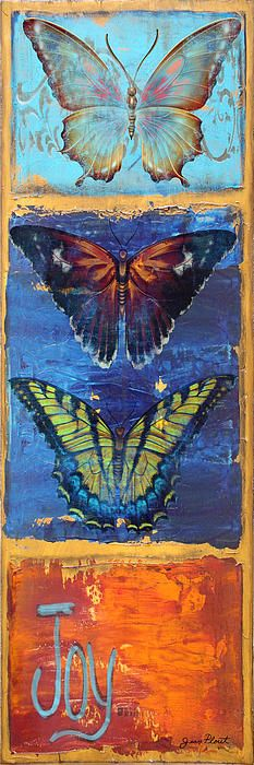Beautiful Hope Butterflies in vertical design, Painting was painted with acrylics by Jean Plout. Then transformed into this lovely design. Great art for any wall!