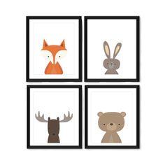 Woodland Headshot Art Print Set - Nursery Art - Children's Wall Art - Set of 4 Prints