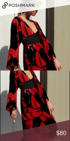 Kimono sleeve dress with attached belt Extremely rare!!  Silk chiffon fabric with subtle red shimmery leaves.  Comes with scoop neck jersey slip dress.  Falls mid calf.  Belt attached in the front ties in the back. Dresses Midi