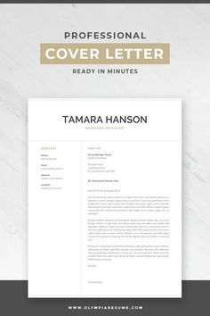"""Focus on your cover letter content instead of stressing about the letter's formatting. Use a professional resume template and make your cover letter look amazing. Professional resume template pack """"Tamara"""" includes 1 and resume, cover letter and re Creative Cover Letter, Writing A Cover Letter, Cover Letter For Resume, Cover Letter Design, Resume Cover Letter Examples, Cover Letter Tips, Interior Design Cover Letter, Cover Letter Layout, Interior Design Resume"""