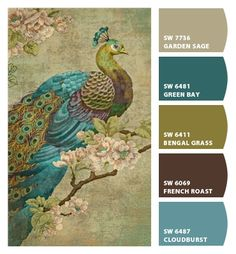 Paint colors from Chip It! by Sherwin-Williams I like this color scheme for my living room neutrals, browns and peacock etc