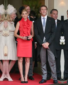 Clotilde Courau: The Princess of Venice and Piedmont wore a Giambattista Valli coral gazar cocktail dress to the Monaco Royal Wedding