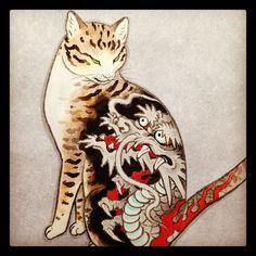 Tattooed cat by horitomo