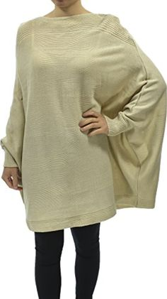 Hand By Hand Women Solid Knitted Boat Neck Sweater Poncho Oversized Cape -- Awesome products selected by Anna Churchill