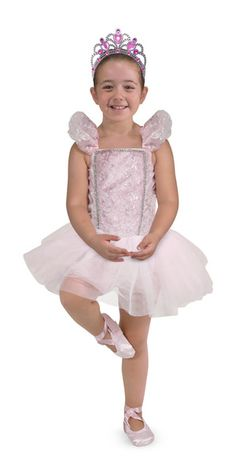 With this five-piece ballerina dress-up costume, it's easy for aspiring dancers to dress up like prima ballerinas and imagine themselves on stage! A pretty pink bodice and tulle tutu, crushed-velvet bloomers, ribboned slippers and a glittering tiara have all the glamour of a recital costume, but are easy for kids to put on and take off all by themselves. The bloomers, top and shoes are washable and durably constructed to last through years of imaginative play!