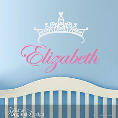 Girls Room Decor Vinyl Wall Decal: Customized Name with Princess Crown for Childrens Bedroom or Baby Nursery Decor