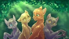 Left to right Cinderpelt, Sandstorm, Fireheart, and Graystripe. Lol Graystripe is not female. :D