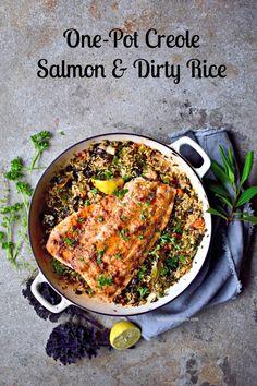 One-Pot Creole Salmon and Dirty Rice (with vegan tweak)
