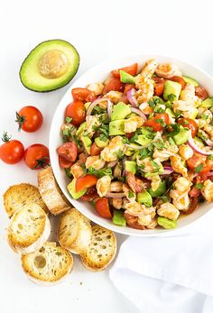 shrimp and avocado salad. Shrimp and Avocado Salad - Shrimp avocado tomatoes and red onions in a zesty homemade vinaigrette. So healthy and refreshing! Salad Recipes Video, Shrimp Recipes Easy, Salad Recipes For Dinner, Healthy Salad Recipes, Seafood Recipes, Chicken Recipes, Shrimp Avocado, Avocado Salad, Tomato Salad