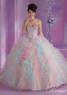 Quinceanera Dress Layered Ruffled Tulle with Beading