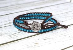 Your place to buy and sell all things handmade Hippie Bracelets, Beaded Wrap Bracelets, Beaded Jewelry, Silver Buttons, Silver Bangles, Boho Chic, Bohemian, Modern Gypsy, Flower Mandala