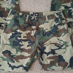 Men's Obey Camo pants ,Men's Camo pants.  Button pockets in the back.  Preloved.  Small fraying on pant leg (pictured ) Size 34 Inseam 34 ( my boyfriend is 6'1 without shoes) Obey Jeans