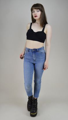 90s Black Sweetheart Crop Top S by MICROMALL on Etsy