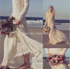 Find More Wedding Dresses Information about Custom Made 2015 Long Sleeves Lace Beach Bohemian Wedding Dresses Romantic Bridal Gowns A line Floor Length Appliques Scoop,High Quality dress delivery,China dress lucky Suppliers, Cheap dress pants t shirt from ShangNi  High End Wedding Dresses on Aliexpress.com