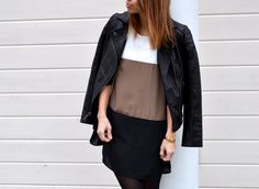 Color block Dress and Leather Jacket| Fishbowl Fashion