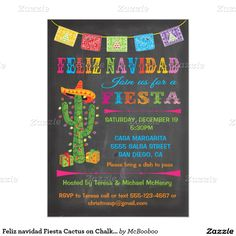 Feliz navidad Fiesta Cactus on Chalkboard Background. SO CUTE, getting these!
