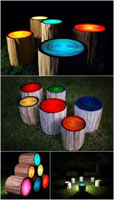 cool outdoor deco, trunks painted with glow in the dark paint.