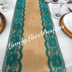 Hey, I found this really awesome Etsy listing at https://www.etsy.com/listing/244298216/burlap-table-runner-with-tealjade-lace