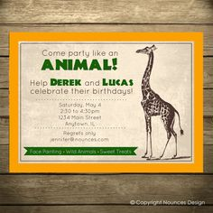 Safari Party Birthday Invitation Zoo Theme  Wild Animal by nounces, $15.00