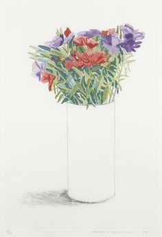 Godetia (S.A.C. 155)   -    David Hockney  1973  British b.1937-  Etching in colors on wove paper ,   17 x 11 1/2in
